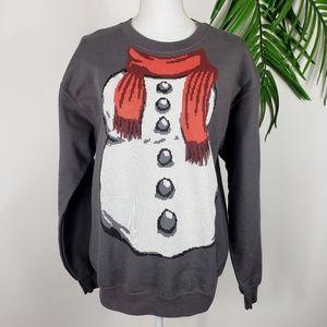 Snowman Sweatshirt Medium Holiday Novelty Gray